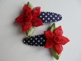 """Haarknipjes """"roos rood"""" 5 cm"""