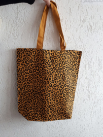 Schoudertas luipaardprint oker