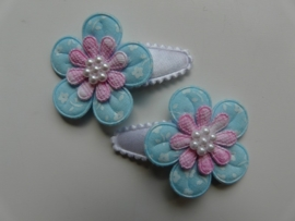 "Haarknipjes ""blauw/roze bloem"" 3cm"