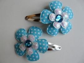 "Haarknipjes ""bloem aqua/ wit"" 5 cm"