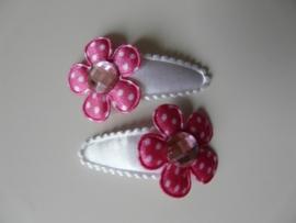 """haarknipjes """"fuchsia/roze steen"""" 3 cm"""