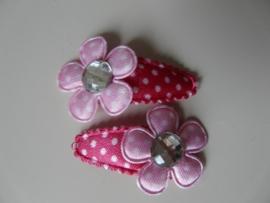 """Haarknipjes """"roze/witte steen"""" 3cm"""
