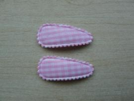 """Haarknipjes """"roze geblokt"""" 3cm"""