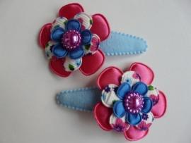 "Haarknipjes ""bloem blauw/roze"" 5 cm"