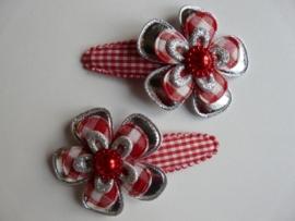 """Haarknipjes """"bloem zilver/rood"""" 5 cm"""