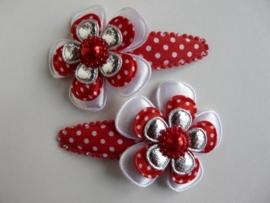 """Haarknipjes """"bloem rood/zilver"""" 5 cm"""