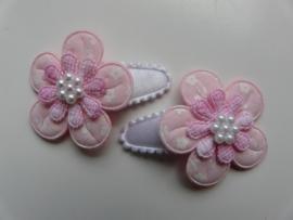 """Haarknipjes """"roze bloem"""" 3cm"""