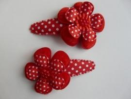 """Haarknipjes """"bloem rood"""" 5 cm"""