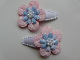 """Haarknipjes """"roze/ blauwe bloem"""" 3cm"""
