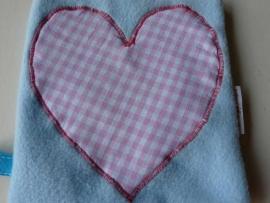 """Knuffeldoek """"hart roze"""""""