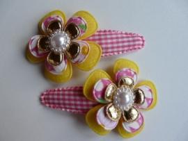 "Haarknipjes ""bloem geel/roze"" 5 cm"