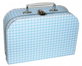 koffer ruit blauw/ wit