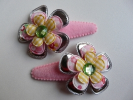 "Haarknipjes ""bloem roze/geel"" 5 cm"