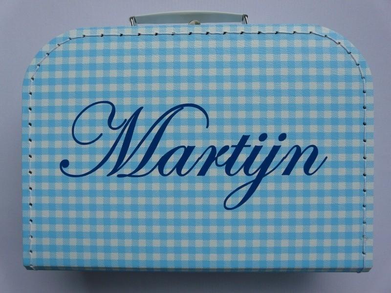 koffer ruit blauw/ wit met naam in marine blauwe letters