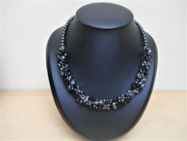 Pakketje waaier van kralen -  Grijs/zwart - Nr 1263
