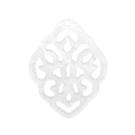Pendentif baroque blanc  ca. 42x30mm  / 2  pièces  / KD60710