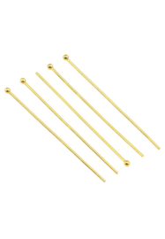 Nietstift  met bolletjes Goud  40mm / Ca 20 stuks / KD25487