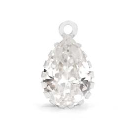 Goutte Cristal Argent ca 14x9mm / 2 pièces / KD62924