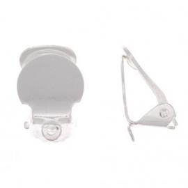 Clip oorbel 10mm met rijggaatje  , met zilverlaag , / 2 stuks  / KD599