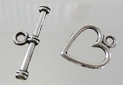 Fermoirs Toggle Coeur  19mm / 2 sets / K201