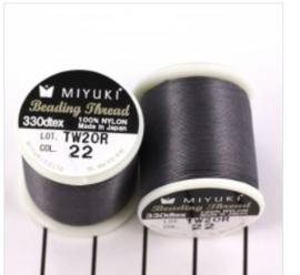 Miyuki Fil Nylon Beading thread B  -  Gris foncé  - 50 mètres - Nr 22
