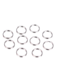 8mm Dubbel ringetjes nikkelkleur / 5 gram( Ca 58 stuks) / KD30615