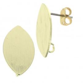Oorstekers  Goudkleur ovaal  11x20mm / 1 paar / KD172