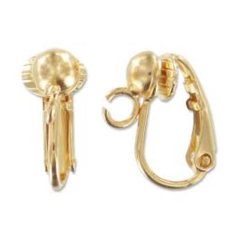 Clip oorbellen met rijggaatje / 24 karaat goudlaag / 2 stuks / KD492