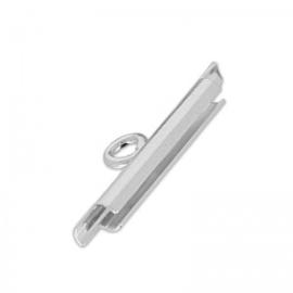 Embout 15 mm rhodium  / 4 pièces /KD7132