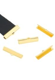 Embouts pinces ruban en métal pour cordon et cuir 20x8mm / 10 Pcs / KD25136