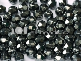 Jet Hematite Fire Polished  4mm / 100 stuks / KD711