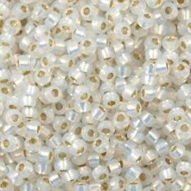 Miyuki Rocaille 8/0 Nr 0551 - 10 gram /  Gilt lined white opal