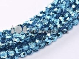 Aqua Ice Mettalic Fire Polished 4mm  / 120 stuks / KD710