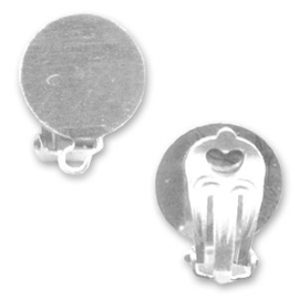 Clip oorbellen  13mm, zilver plated  / Per set / KD7