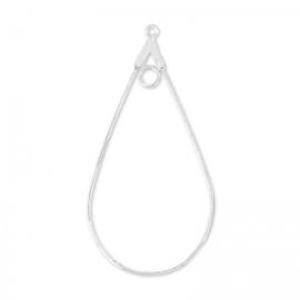 Creool oorbel ovaal 23x43.5  Zilverkleur / 2 stuks / KD12277
