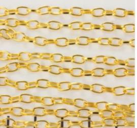 Schakelketting  3mm  ovaal , goudkleur / ca 1  meter /  KD6000