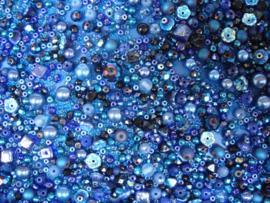 Pakketje waaier van kralen -  Blauwe tinten - Nr 1359