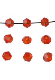 Bicones Rood Kristal  4mm / 100 stuks / KD20022