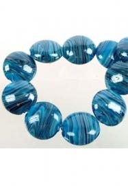 Perles en verre bleu marbré / 5 pcs / KD692 (D07601)