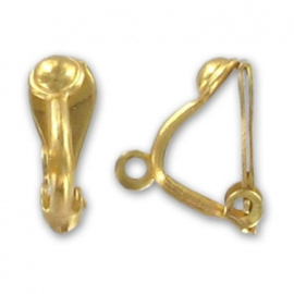Clip oorbellen met rijggaatje / 24 karaat goudlaag / 2 stuks / KD373