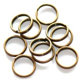 7mm Dubbel ringetjes Bronskleur / 5 gram / KD3140