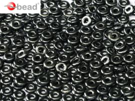 O bead  2 x 4 mm Jet Hematite  2x4mm / 5 gram / KD61035
