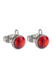 Clous d'oreilles avec anneau Rouge / 2 pièces / KD20876