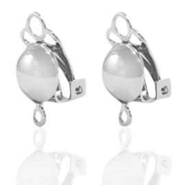 Clip oorbellen Zilverkleur met oogje Ca 15x8) / KD71667 / 2 stuks