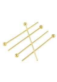 Nietstift  met bolletjes Goud 30mm / Ca 45 stuks / KD25482