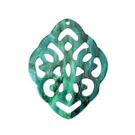 Pendentif Baroque vert flambé 33X42MM / 2 pièces / KD62913