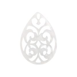 Pendentif baroque blanc 38x27mm / 2 pièces / KD58960