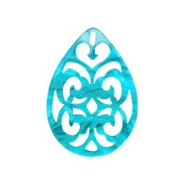 Pendentif goutte baroque 38x27mm Bleu / 2 pièces / KD58946