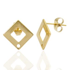 Oorsteker Vierkant met oog, goud, ca 13,5mm  /  2 stuks  / KD71819