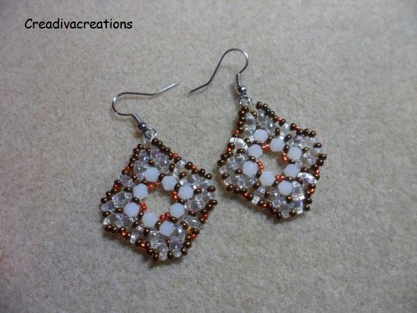 Patroon duo bead oorbellen, rijgpatroon